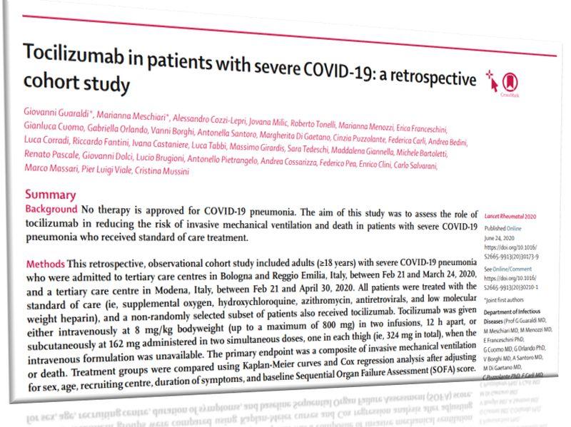 抗IL-6受容体抗体のトシリズマブ、COVID-19重症例の死亡リスク低減